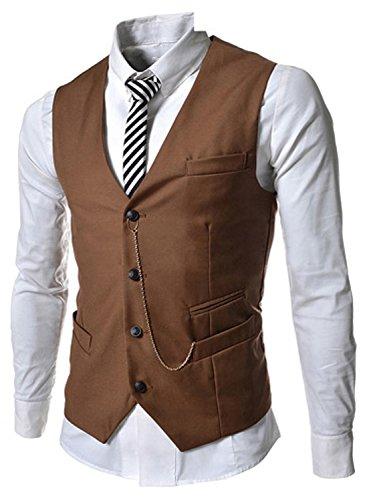 Turbomsun Herren Klassisch  Metall Kette  V-Ausschnitt 4 Knopf Geschäft   Westen  Schlank  Passen Tasche  Weste  Jacke (Männer Kleid Große Für Schickes)