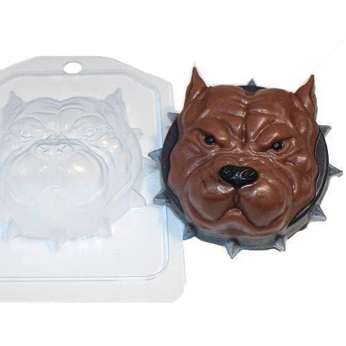 1pc Starke Pitbull Terrier Face Dog-Tier-Plastik der Seifenherstellung Mold Mould 85x85x34mm -
