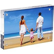 niubee acrílico magnético marco de fotos, de doble cara marco de fotos vertical y horizontal, libre de pie marco de fotos de sobremesa con imán (3.5x5 inch, 10+10mm)