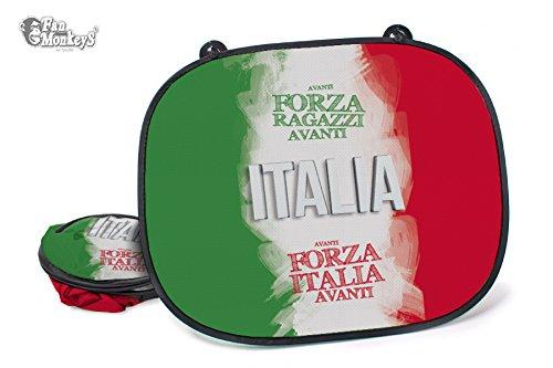 Italien 2 tlg. Set Auto-Sonnenschutz - Fanartikel Sonnenblende Sonnenschutzblende für Seitenscheibe für Kinder Baby