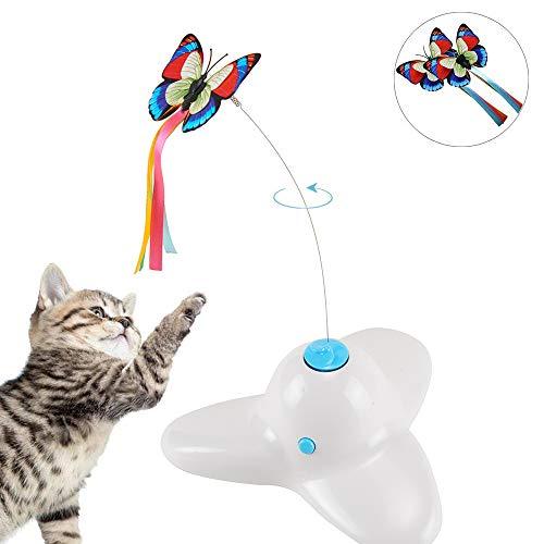 Xiruisz Elektronisch drehendes Katzenspielzeug mit rotierendem Schmetterling (Weiß)