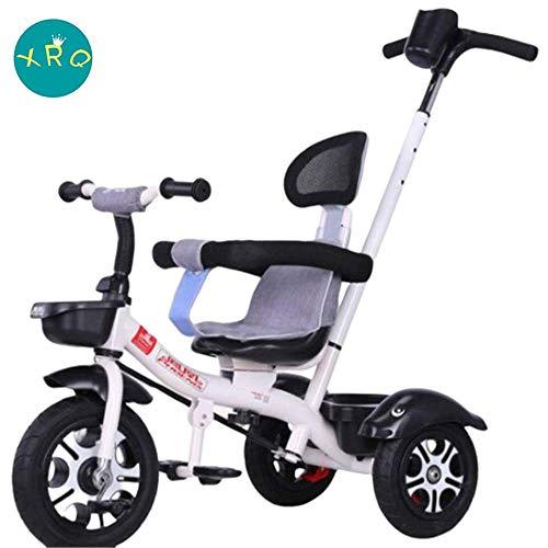 XRQ 3-In-1-Kinderdreirad, Kinderwagen Mit Drehsitz, Kinderfahrrad, Geeignet Für Jungen Und Mädchen Von 2-6 Jahren,Weiß,Titaniumemptytire