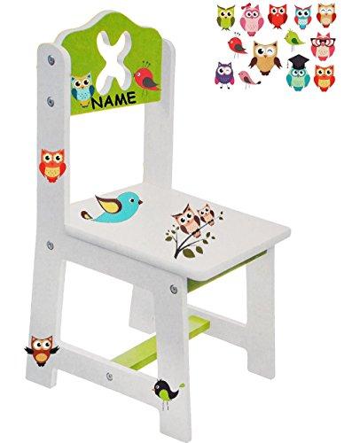 alles-meine.de GmbH Stuhl für Kinder - aus sehr stabilen Holz -  Bunte Eulen - weiß / grün  - incl. Name - Kinderstuhl - Beistellstuhl - Kindermöbel für Jungen & Mädchen - Kind..