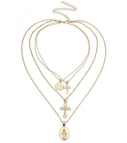 XJYA Kreuz Halskette, Legierung Vintage-Multi-Lauren Dame des Kreuzes Anhänger Halskette, Geeignet Für Frauen 45Cm Kette