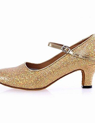 La mode moderne Non Sandales femmes personnalisables Chaussures de Danse Modern Paillette Argent/Or talon Cubain US6.5-7/EU37/UK4.5-5/CN37