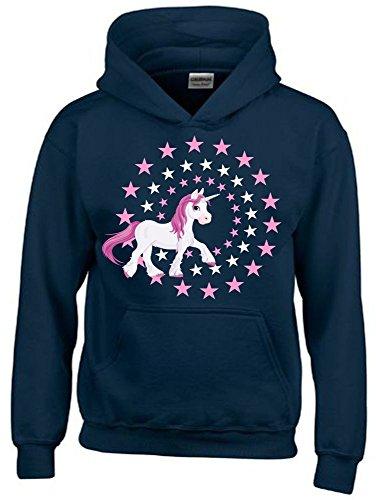4-sterne-hoodie (UNICORN STARS - Einhorn Sterne NAVY-HOODIE, Gr.128cm)