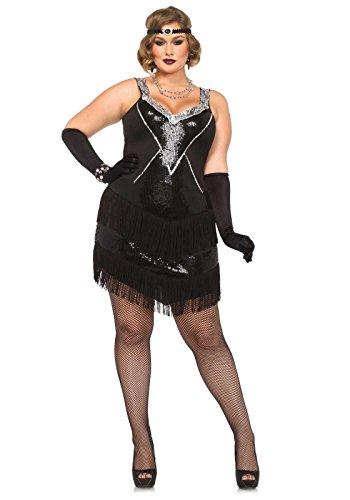 Leg Avenue 85474X - Glamour Flapper Damenkostüm Set, Größe 1X-2X  EUR 44-46, schwarz/Silber