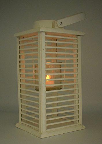 E Trade Lanterna a LED in Vimini e Rattan, Colore Bianco