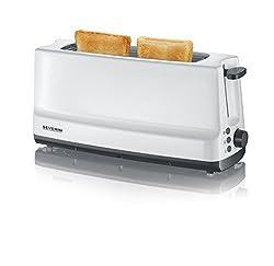 SEVERIN Automatik-Toaster, 1 Langschlitzkammer, Für bis zu 2 Brotscheiben, 800 W, AT 2232, Weiß/Grau