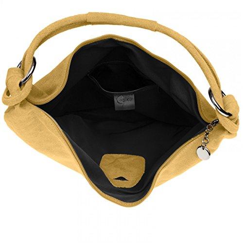 Caspar Tl617 Signore Borsa In Pelle Scamosciata Vintage / Borsa / Hobo Bag / Shopper Cammello