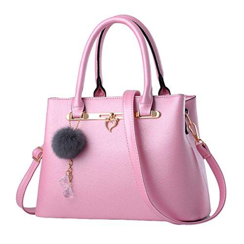 Damen Handtasche Mode Schultertasche Messenger Bag Einfache Wilde Temperament Elegant Pink