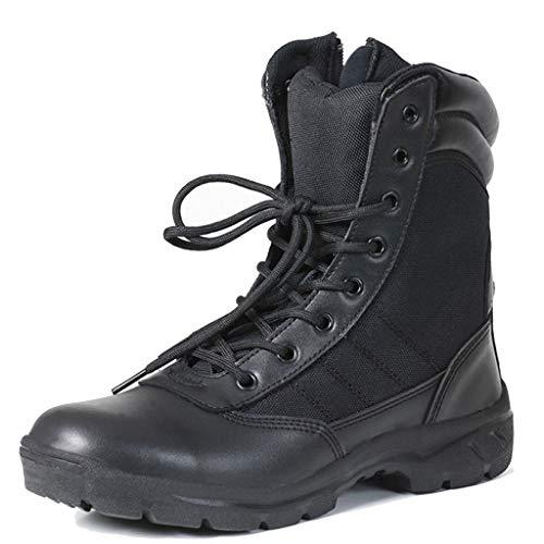 Alaeo Männer Hohe Tops Militärstiefel Taktikstiefel Police Commando Training Seitlicher Reißverschluss Stiefel für Dschungel Abenteuer Wandern Desert Boots,Black,40 -