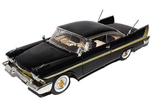 Plymouth Fury 1958 Coupe Schwarz Oldtimer 1/18 Motormax Modell Auto mit individiuellem Wunschkennzeichen - Plymouth Auto Modelle