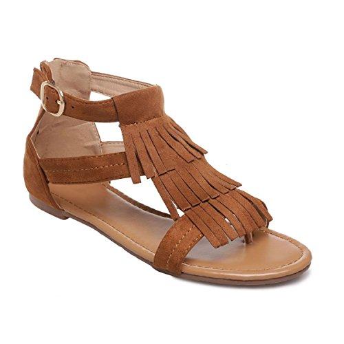 La Modeuse - Sandales à brides en suédine à franges Camel