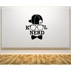 Kod Nerd - Vasos Sombrero Pajarita Geek Chulo Pared Adhesivo Pegatina Arte Imagen - Negro, 30 cms wide x 36 cms high