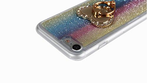 Clear Matte Crystal Rubber Protettivo Case Skin per Apple iPhone 7 4.7, CLTPY Moda Brillantini Glitter Sparkle Lustro Progettare Protezione Ultra Sottile Leggero Cover per iPhone 7 + 1x Stilo - Purpl Arcobaleno con Anello