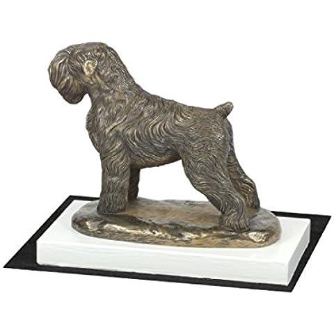 Terrier ruso negro, Perro en estatua de base de madera blanca, edición limitada, ArtDog