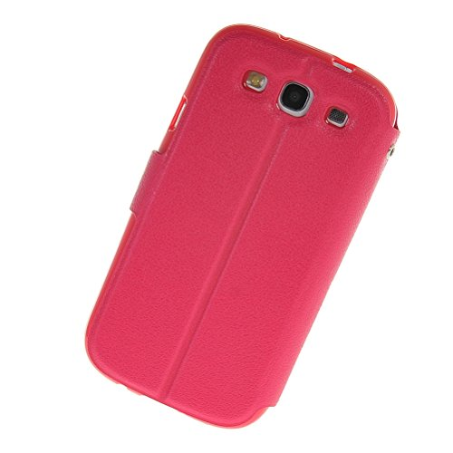 MOONCASE Coque en Cuir Housse de Protection Étui à rabat Case pour Apple iPhone 4 / 4S Noir Hot Rose