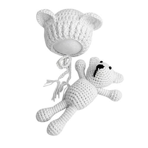 Jasnyfall Säuglingsbaby Stricken häkeln Mützen Hut mit Puppe Spielzeug Set Neugeborenes Baby Mädchen Fotografie Prop Outfit Kleidung Kostüm Weiß