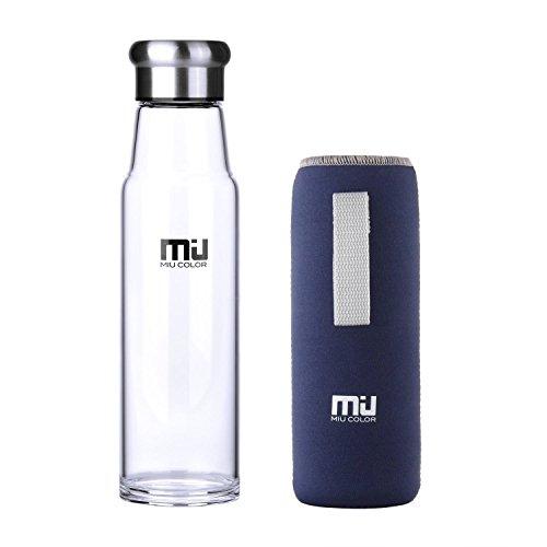 MIU COLOR® Stilvolle Tragbare 700ml Glasflasche Größere Kapazität Trinkflasche - Nylon Tasche für Auto (onhe Teesieb) (Blau)