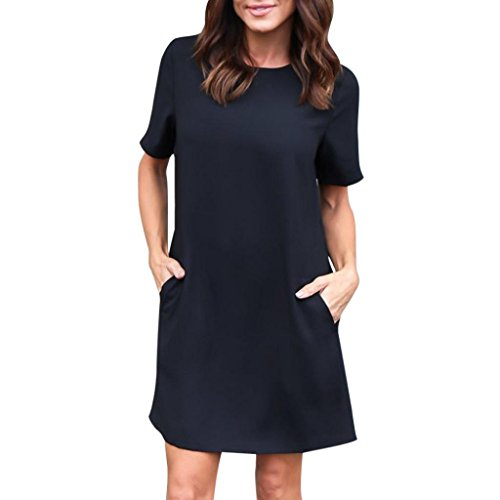 feiXIANG Damen Lässige Solide Kurze Lose Schlichten Kleid Casual Einfarbig Tasche Kurzarm Rock T-Shirt Pullover Bluse (XXXL, Schwarz) (Detail T-shirt Kleid)