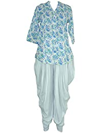 Pintex Tunic Top And Dhoti Pant Ethnic Suits Set For Women – V-Neck, Nehru Collar, Rollup Sleeve, Tunic Top And...