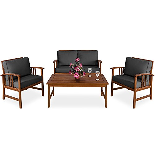 Deuba Sitzgruppe Holz Sitzgarnitur Gartenmöbel Gartengarnitur Garten Lounge Holzgarnitur Set – Atlas