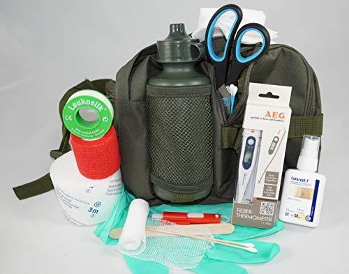 apotier24 1.-Erste-Hilfe-Set speziell für den Hund (mit 0,5 l-Flasche)-Oliv- -- enthält NUR Artikel die wirklich beim Hund benutzt Werden können- für Notfall, Wanderung, Sport, Jagd