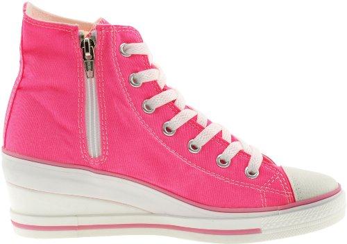 Fach Pink Hot Pumps niedrige Rei脽verschluss Keil Sneakers 7 mit Maxstar z5UxgqRq
