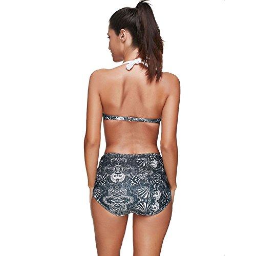 FeelinGirl Damen Push-up Gepolstert Neckholder Bikini-Sets BH Bandage Design Bademode Beachwear Badeanzug Black