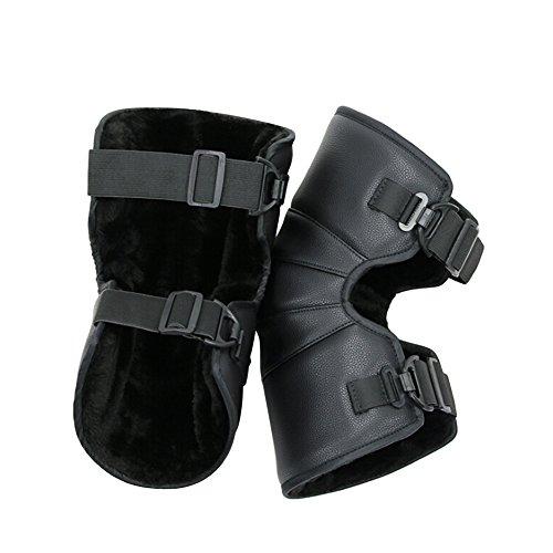 following Ginocchiere caldo cuscinetti termici invernali moto Electrombile ginocchio guardia di nero PU