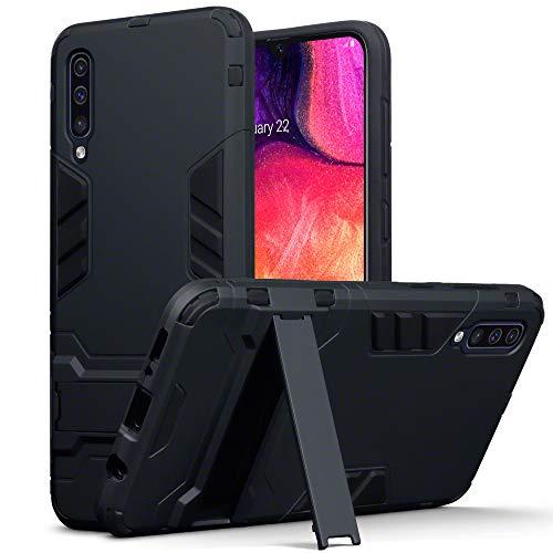 TERRAPIN Carcasa Samsung A50, silicona y policarbonato duro con función de soporte para el estuche Samsung Galaxy A50, color: negro