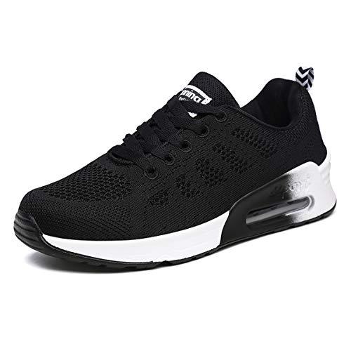 Lanchengjieneng Moda Donna Air Running Trainer Sneakers Fitness da Jogging Traspirante Scarpe da Passeggio Casual Nero EU 38