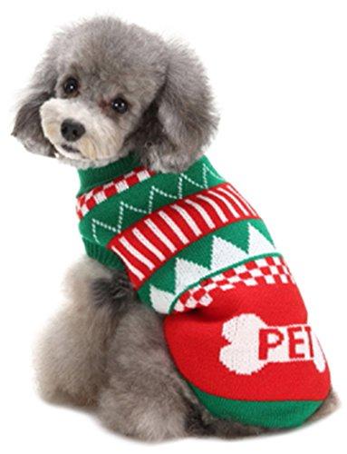 Fair-isle-rollkragen-pullover (smalllee Lucky Store Weihnachten Classic Kabel Hund Sweater Knit Rollkragen Hund Pullover Strickwaren Welpen Oberbekleidung)