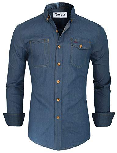 TAM WARE Herren Hemd mit Knopfleiste Gr. US XXL, blau - Midweight Denim Shirt