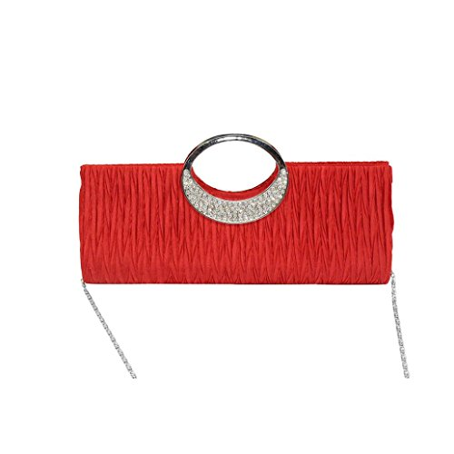 Envelope Clutch, Huhu833 Frauen Elegante Abend Hochzeit Geldbörse Clutch Strass Satin Plissee Handtasche Rot