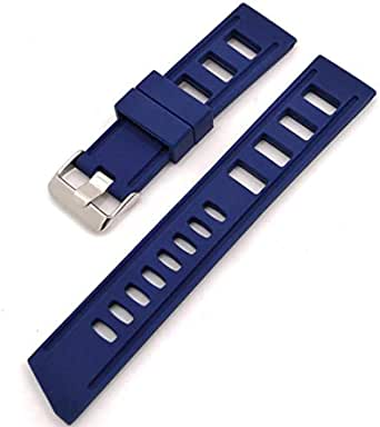 Cinturino per orologio di alta qualità in stile subacqueo con motivo forato, blu o nero, in silicone resistente ed elastico con larghezza di 20 o 22 mm.