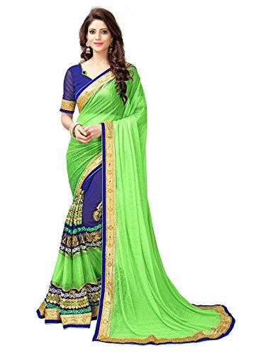 KOROSHNI Lycra Saree With Blouse Piece(Kr-Madhumati-Parrot_Green Free Size)