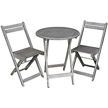 Balkonmöbel Tisch Stühle.Balkon Möbel Set Bistrotisch Mit 2 Stühlen Balkonmöbel Tisch Und Stühle Klappbar Grau Matt 100 Fsc Akazie Witterungsbeständiges Hartholz