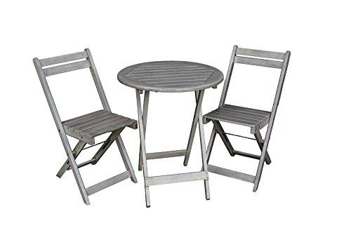 Balkon Möbel Set | Bistrotisch mit 2 Stühlen | Balkonmöbel | Tisch und Stühle Klappbar | Grau Matt | 100{ed96ed55105bd5ea1f443f4582df605d6e767c66903c553e96dbfc8c4ee059d6} FSC Akazie | Witterungsbeständiges Hartholz | Tisch 72cm Hoch