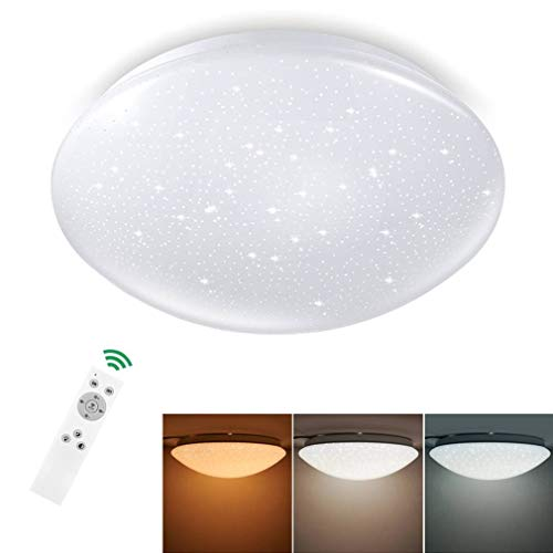 LED Deckenleuchte Dimmbar Sternenhimmel 18W, Tonffi LED Deckenlampe Dimmbar mit Fernbedienung Einstellbar Farbtemperaturen und Helligkeit für Wohnzimmer Schlafzimmer Kinderzimmer, Rund Ø285mm