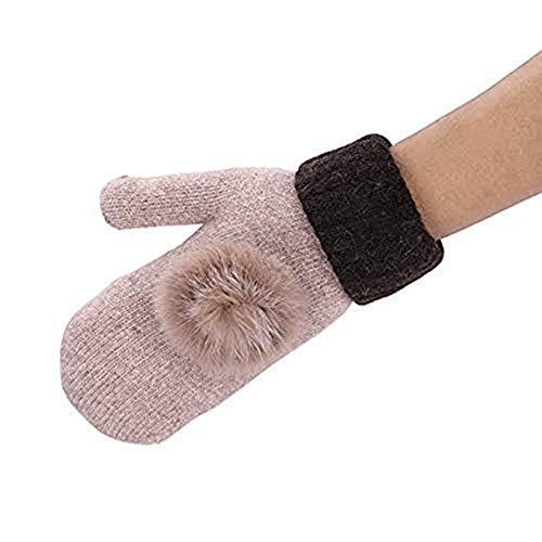 Winter Handschuhe Damen Mädchen Fingerhandschuhe Verdickte Warme Handschuhe mit Samtschicht Kaninchenhaarball Design Winterhandschuhe Weiche Einfarbige Damenhandschuhe für Winter Drinnen und Draußen