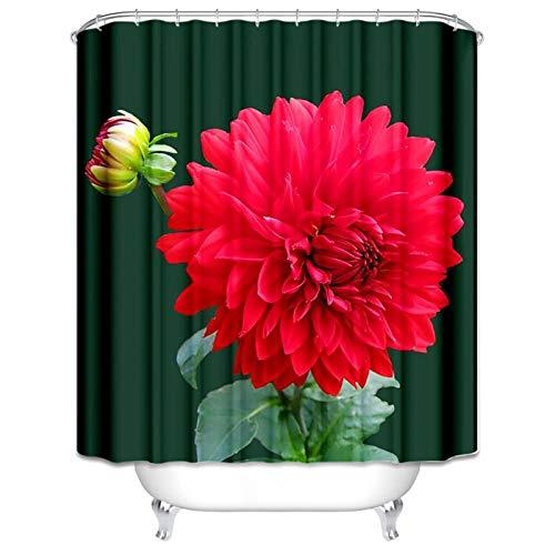 Bishilin 3D Badvorhang Vintage Dahlie Rot Baumblüte Duschvorhang Anti-Schimmel 180x200