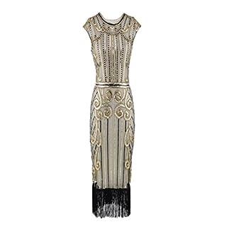Amphia Damen Retro 1920er Perlen Pailletten Blatt Art Deco Gatsby Flapper Kleid (Gold, L)