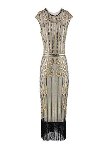Amphia Damen Retro 1920er Perlen Pailletten Blatt Art Deco Gatsby Flapper Kleid (Gold, L) - Perlen-baumwoll-mischung