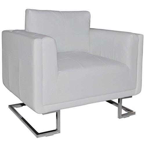 vidaXL Fauteuil Cube en Cuir Blanc Sofa en Cuir Fauteuil de Salon Canapé en Cuir