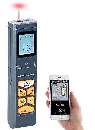 AGT Lasermessgerät: Laser-Entfernungsmesser mit LCD & Bluetooth, Messbereich 5 cm - 30 m (Digitale Wasserwaage)