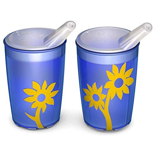 Ornamin Becher mit Anti-Rutsch Blume 220 ml blau/gelb und Schnabelaufsatz 2er-Set (Modell 820 + 806) / Schnabelbecher, Trinkbecher, Kinderbecher