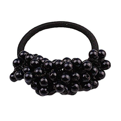 5pcs schwarze Elastik für Frauen klassische Schnur der Korne Haar-Riegel Pferdeschwanz-Halter (Leder-pferdeschwanz-halter)
