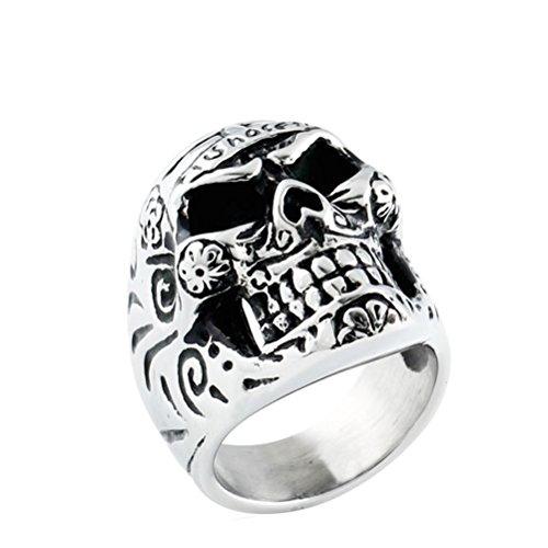 tahl Blume Skelett Ring Schwarz Silber Größe 65 ()
